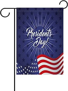 ALAZA Stylish Presidents Day Polyester Garden Flag House Banner 28 x 40 inch, Two Sided Welcome Yard Decoration Flag for Wedding Party Home Decor