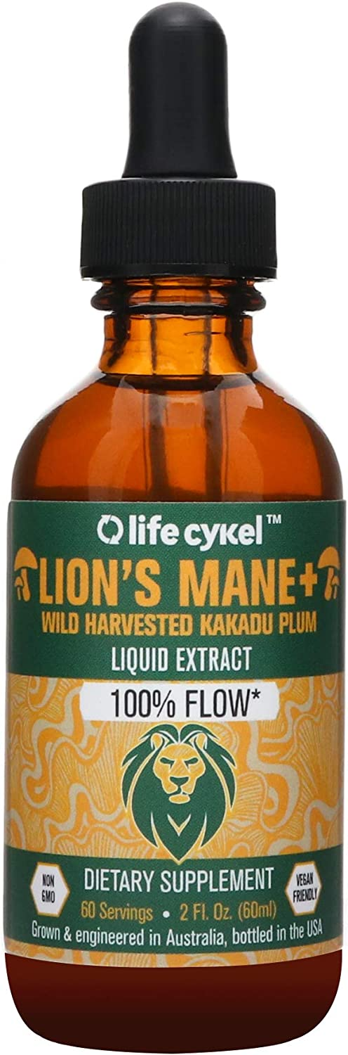 Life Cykel Lions Mane Mushroom with Australian Wild Harvested Kakadu Plum Liquid Extract – 2 fl oz. 60 Servings – 100 Focus and Clarity – Octane for The Brain – Improved Focus, Memory, REM Sleep