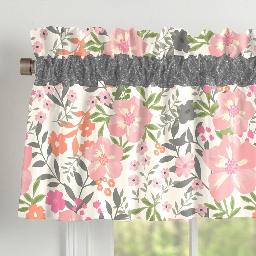 Carousel Designs Coral Pink Tropic Floral Window Valance Rod Pocket by Carousel Designs