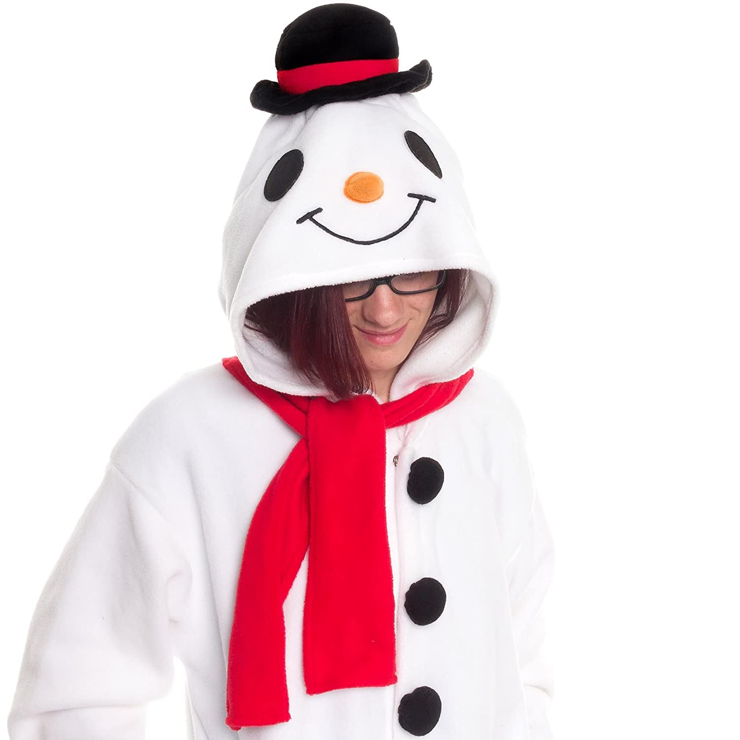 Silver Lilly Unisex Pajamas - Plush One Piece Cosplay Holiday Snowman Costume