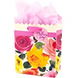 Hallmark Medium Mother's Day Gift Bag with Tissue Paper (Scalloped Floral, 9.6 by 7.75 by 4.34 Inches)