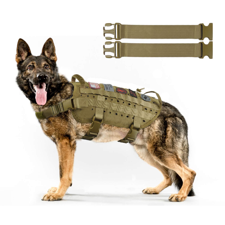 Khaki&2strap M Khaki&2strap M Hanshengday Dog Tactical Service Training Harness Adjustable Military Patrol K9 Dog Vest Comfortable Molle No Pulling Front Clip Leash Attachment with Extender(Medium,Large Black Khaki)