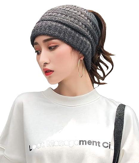 E.Joy Online Ponytail Beanie Hats Beanie Tail Womens Soft Stretch Fashion  Crochet Cable Skull fb4a068238c