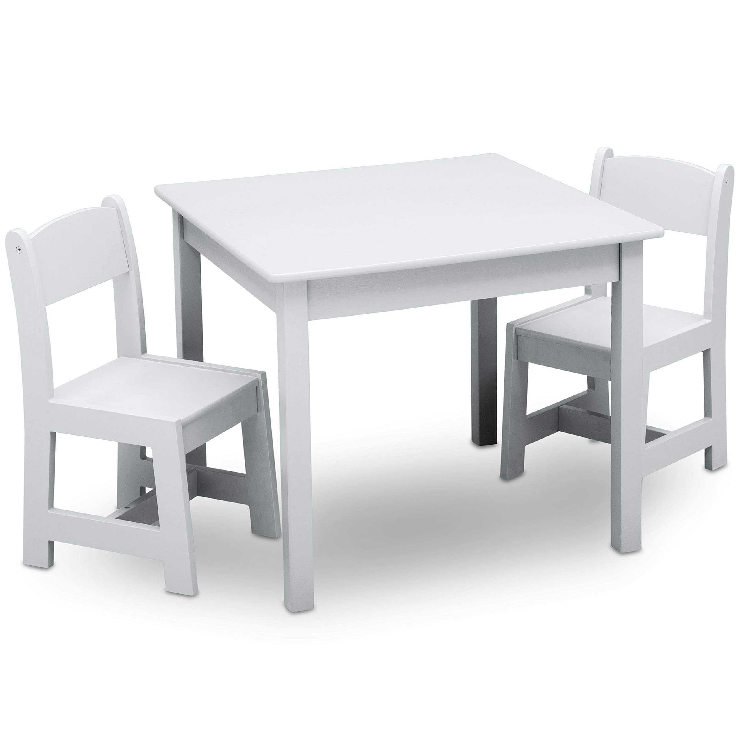 Delta Children MySize Kids Wood Table and Chair Set (2 Chairs Included), Bianca White
