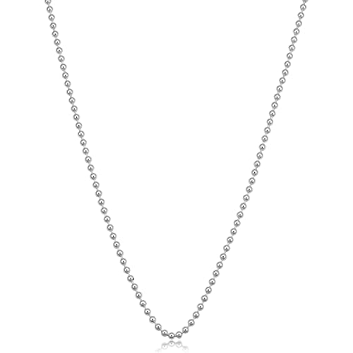 a801ba50f Amazon.com: Kooljewelry Sterling Silver 1.5mm Polished Ball Chain (16  inch): Chain Necklaces: Jewelry