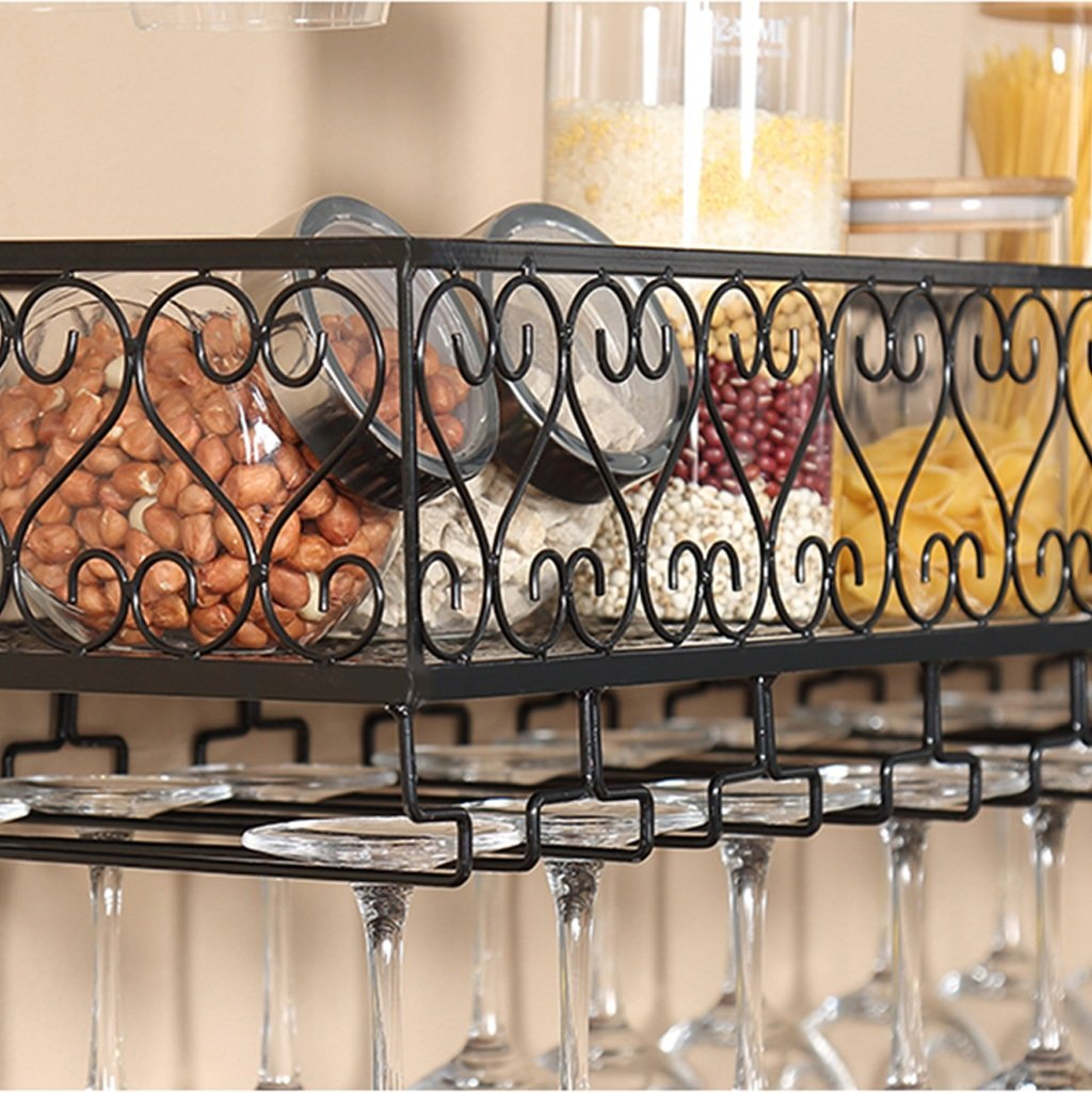 An der Wand befestigtes befestigtes befestigtes Metallwein-Gestell, europäisches Eisen-Weinglas-hängendes Regal u. Halter-Regal für Küche Bar Restaurant (Farbe   Schwarz, größe   8025cm) 4b52bc