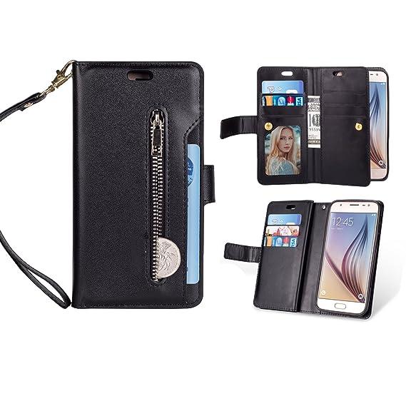 PU Leather Flip Detachable Kickstand Cover Spritech Compatible for Galaxy J7 Refine Wallet Case//Samsung J7 Aero//J7 Aura//J7 Top//J7 Crown//J7 Eon//J7 Star//J7 V 2nd Gen//J7 2018 Case, 9 Card Slots