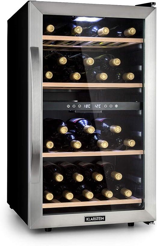 Klarstein Vinamour 45D Vinoteca - 2 zonas de refrigeración, 118 ...