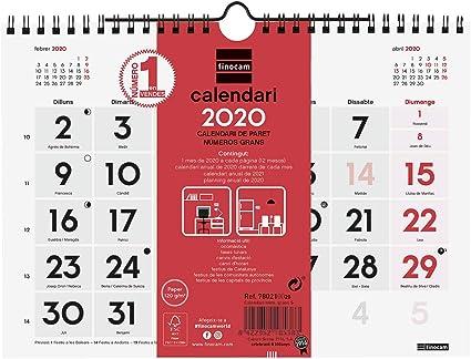 Finocam - Calendario de pared 2020 Números Grandes catalán: Amazon.es: Oficina y papelería