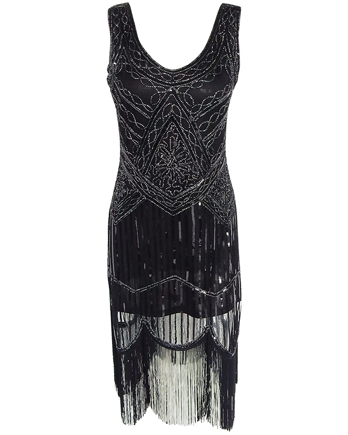Zhihui Women's 1920s Gatsby Sequin Beads Art Deco Fringed Cocktail Flapper Dress