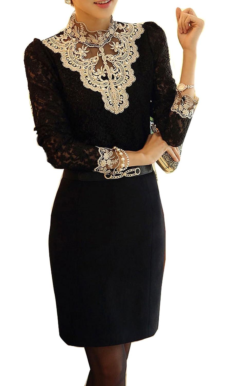 New Women Fashion Korean Chiffon Slim Top Hot Long Sleeve T Shirt Blouse (XXL=US8, black)