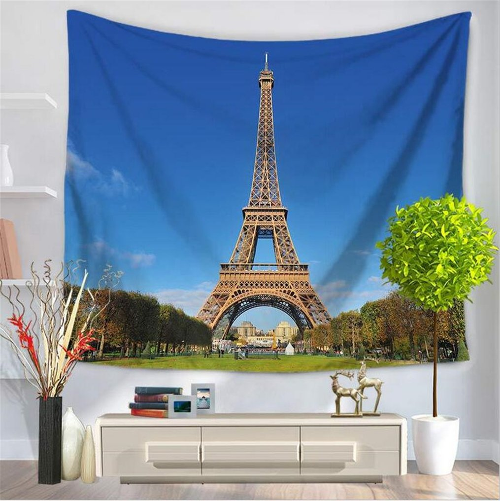 Paris Eiffel Tower Decor Tapestry Wall Hanging, Blue Sky Tapestry Tree Tapestry Love City Monument Wall Tapestry, City Landscape Decor Wall Art Tapestry, Hippie Wall Tapestry for Bedroom Decor