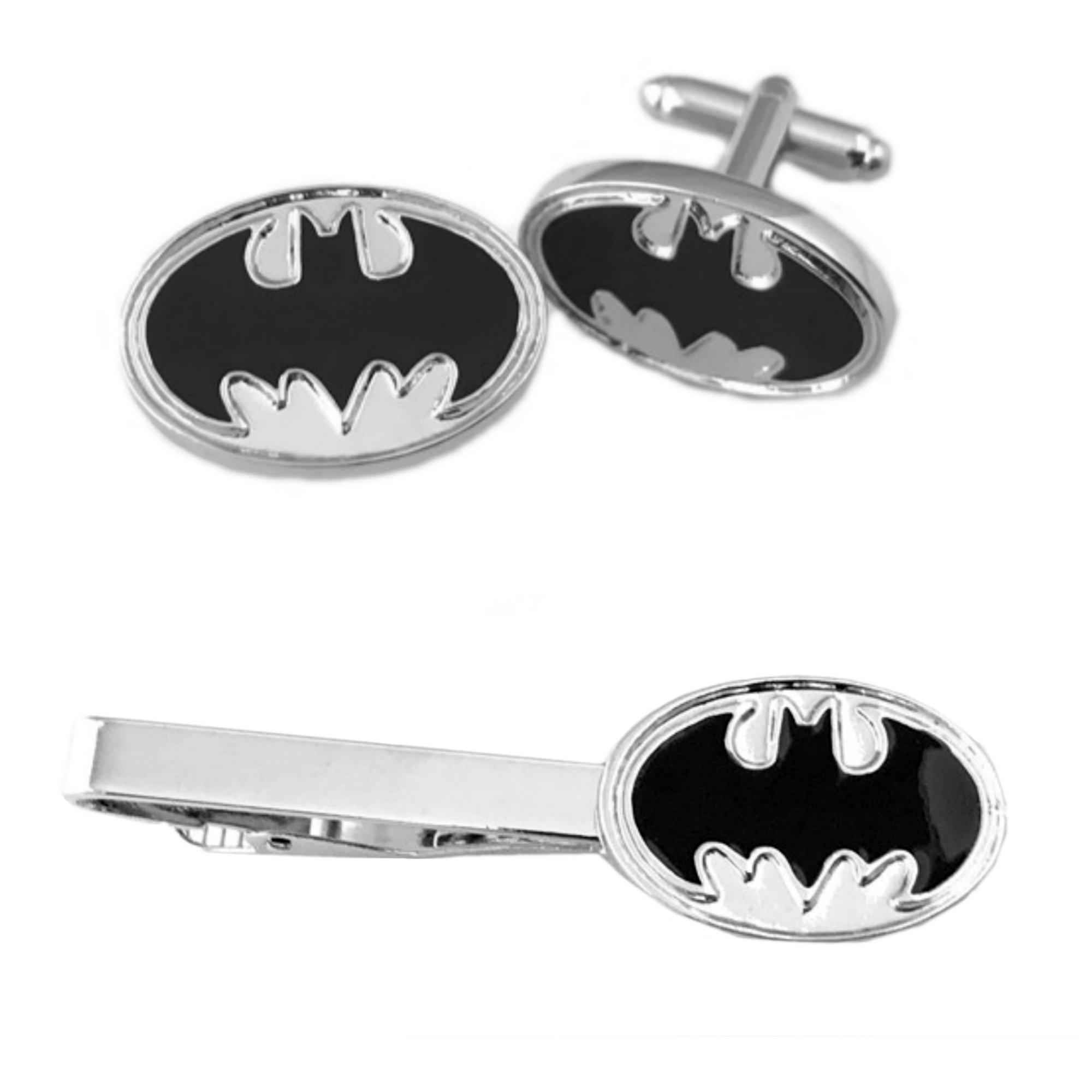Outlander DC Comics - Batman Oval Cufflink & Tiebar - Set of 2 Wedding Superhero Logo w/Gift Box