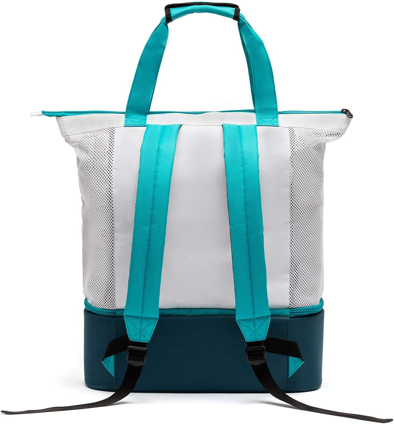 Easthills Outdoors Zipper Top Mesh Beach Tote Bag with Insulated Picnic Cooler, Leak-proof Rigid Bottom Travel Backpack with Adjustable Comfort Padded Shoulder Straps Turquoise Blue