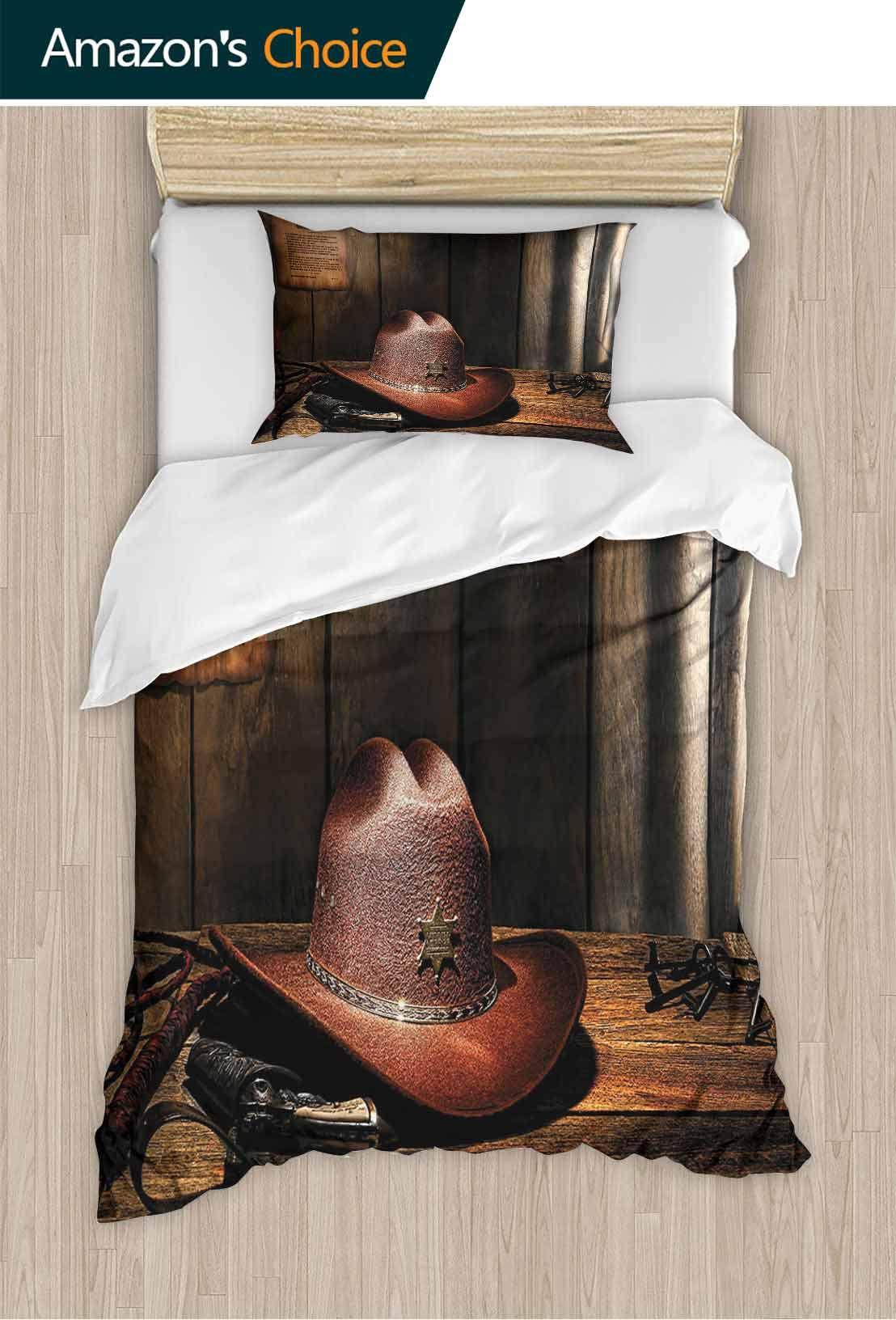 PRUNUSHOME Softest Bedding Felt W Tern Hat Sheriff Table Old Lawman Gun Bullwhip Jail Work Soft and Comfortable King