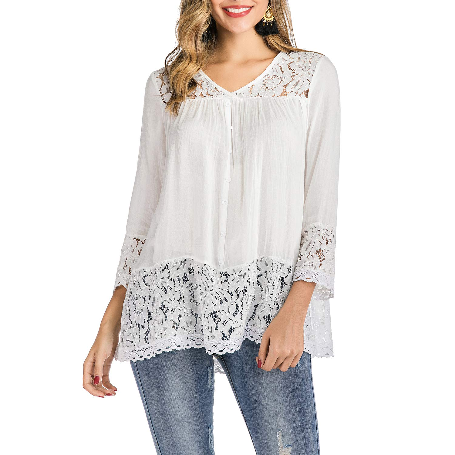 MERMAID'S CLOSET White Tops for Women Long Sleeve Lace Trim V-Neck A-Line Floral Pattern Tunic Blouse Tops Elastic Soft Comfortable White S