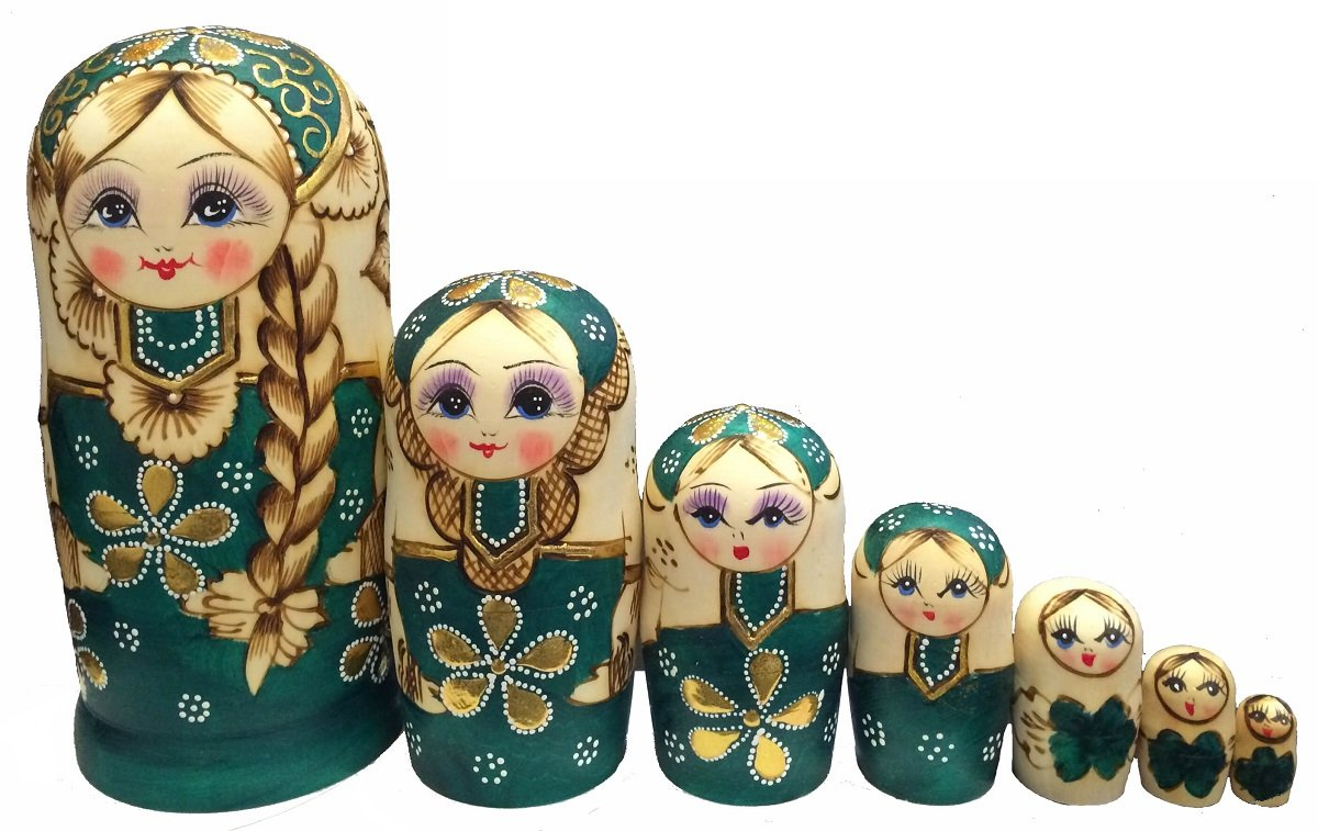 King&Light 7pcs Green Sweater Girl Russian Nesting Dolls Matryoshka toys by K&L by LK