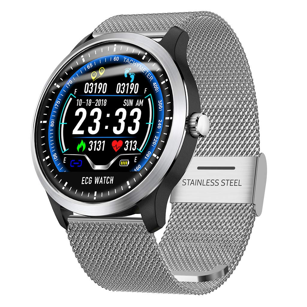 Cobcob Mens Smart Watch Waterproof, 2019 New 1.22Inch ECG Display Blue-Tooth Sport Fitness Watch Heart Rate Monitor Blood Pressure Digital Watch for Men Women Birthday Gift (Silver)