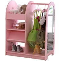 KidKraft Wooden Fashion Pretend Dress-Up Station Children's Furniture with Storage and Mirror - Pink, Gift for Ages 3+