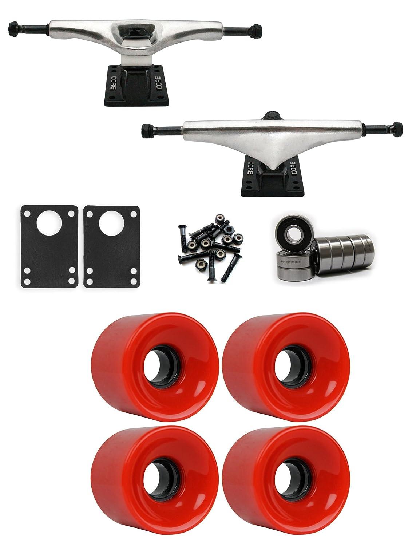 コア7.0 Longboardトラックホイールパッケージ62 mm x 51.5 MM 83 A 186 Cレッド   B01IJ58G4O