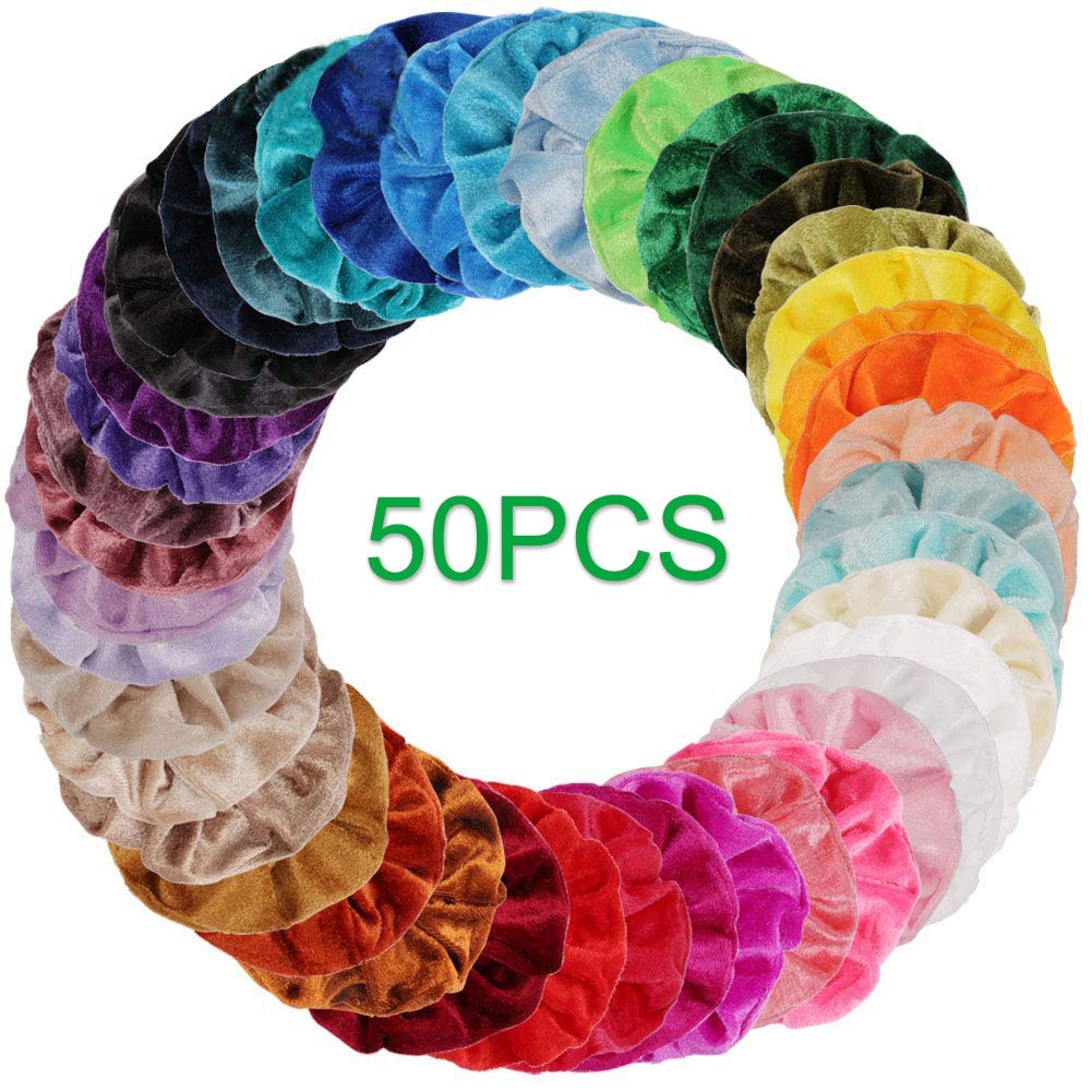 AUOTO 50 Pcs Velvet Hair Scrunchies Colorful Elastic Velvet Hair Bands Scrunchy Hair Ties Ropes Scrunchie for Women and Girls Hair Accessories