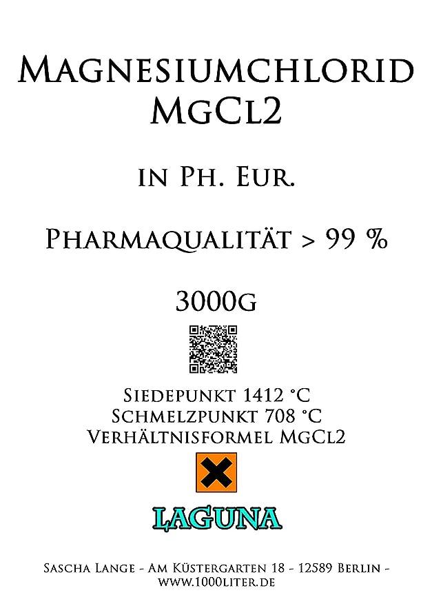 3 kg Cloruro de magnesio Hexa hydrat 3000 g mgcl2 - ph. euros 99% - E511 Pharma de calidad UPS: Amazon.es: Hogar