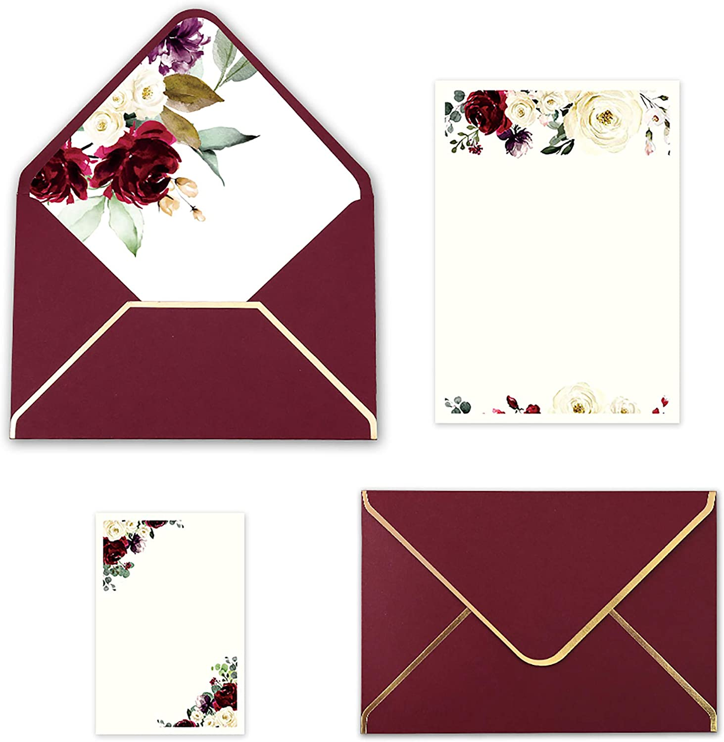 Doris Home 25pcs Burgundy Invitations Cards with Eucalyptus leaves Printed Inner Sheets and Envelope with with Gold Border for Wedding,Engagement Invite (Burgundy, Blank with flower)