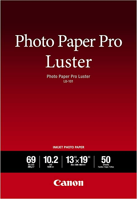 """Amazon.com : Canon Luster Photo Paper, 13"""" x 19"""" (50 Sheets) (LU-101 13X1950) : Photo Quality Paper : Office Products"""