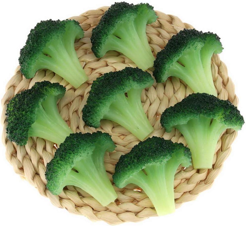 Gresorth 6pcs Fake Broccoli Slice Decoration Artificial Vegetable for Home Kitchen Shop Learning Food Model - Green