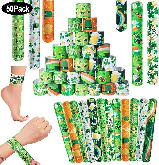 SPECOOL St Patricks Day Decoration, 50Pcs Pulsera Bofetada, para Irish Party Favor for Party, Parade or Celebration Decoration (Type 1): Amazon.es: Juguetes y juegos