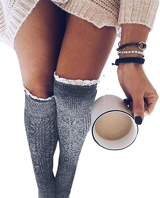 YALL Las Damas De La Pierna Se Calienta Overknee Calcetines Calcetines Mujer Montones De Zapatos, Calcetines Tejidos De Encaje Lgray, Un Tamaño: Amazon.es: ...