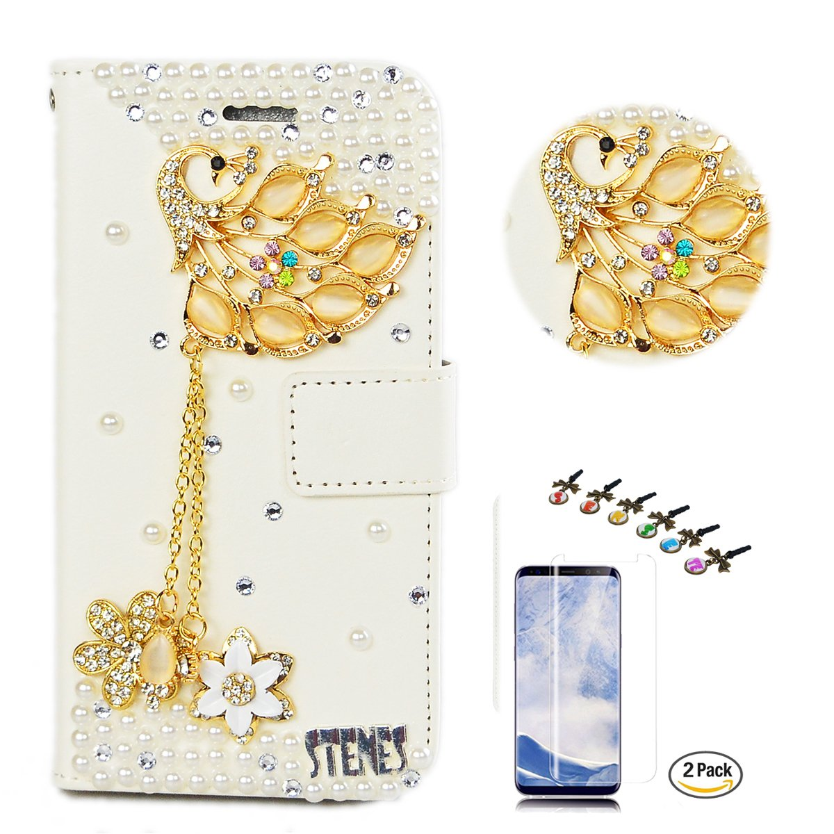 STENES LG V35 ThinQ Case - Stylish - 3D Handmade Crystal Luxury Peacock Pendant Flowers Wallet Credit Card Slots Fold Media Stand Leather Cover with Screen Protector for LG V35 ThinQ - Gold
