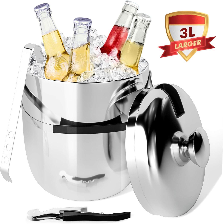 Peradix Cubitera con Pinzas, Cubo para Hielo de Acero Inoxidable Cubo de Hielo Aislamiento de Doble Pared,3 L Conveniente para el champan Que se refresca,Cerveza Refrigerada Cubitera para Hielo
