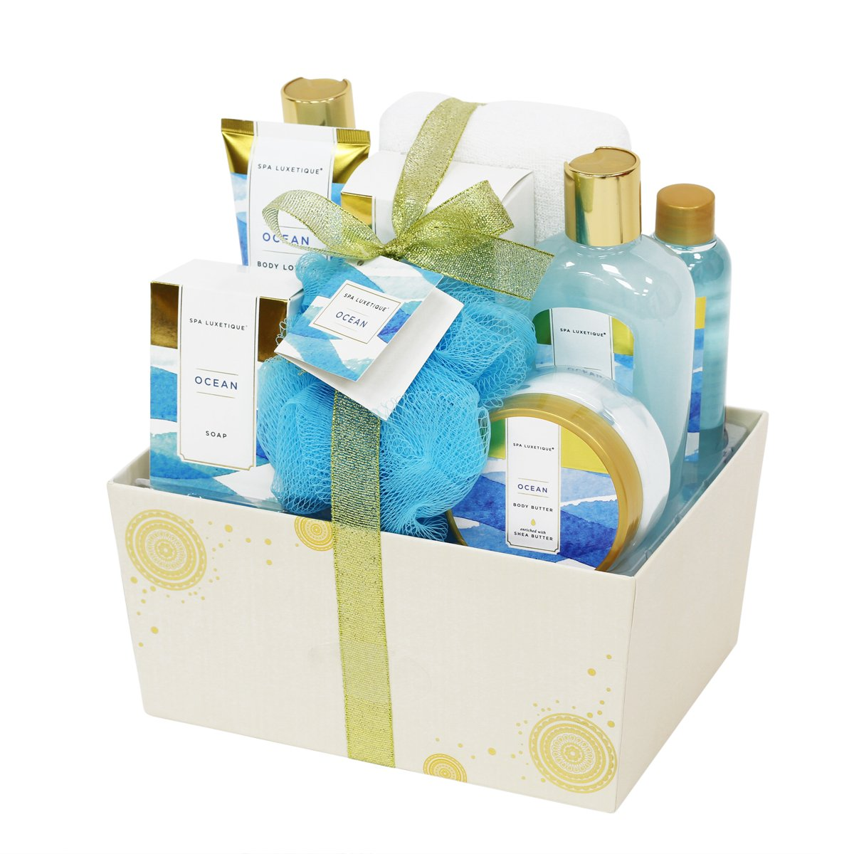 Spa Luxetique Ocean Bath Gift Set for Her, 8pc Premium Spa Gift Set for Women, Decorative Box with Ribbon, Spa Gift Basket for Christmas, Birthday, Mother's Day, Valentine's Day, Thank You Gift