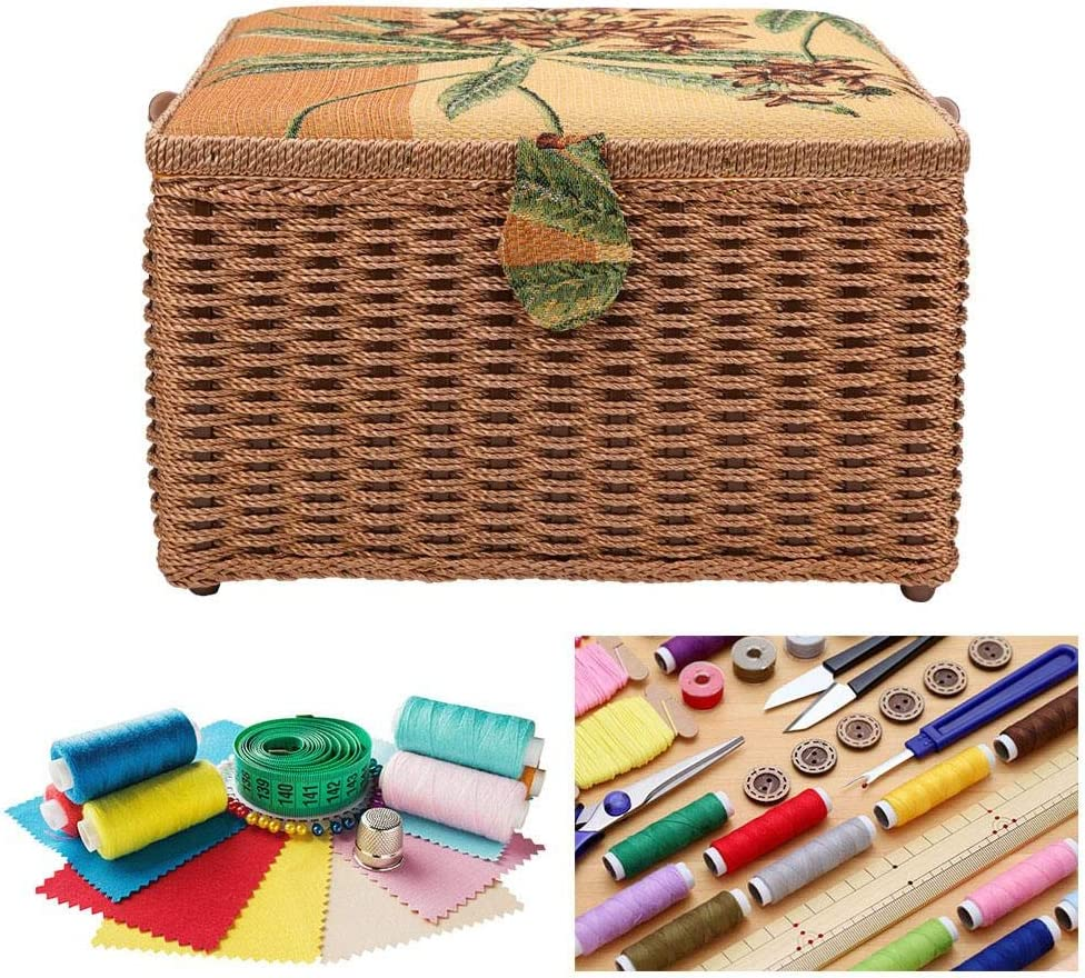 Liukouu Large Sewing Basket Super-Large European Sewing Kit Storage Box Sewing Box Organizer Hand-Made Knitting Tool for Household Embroidery