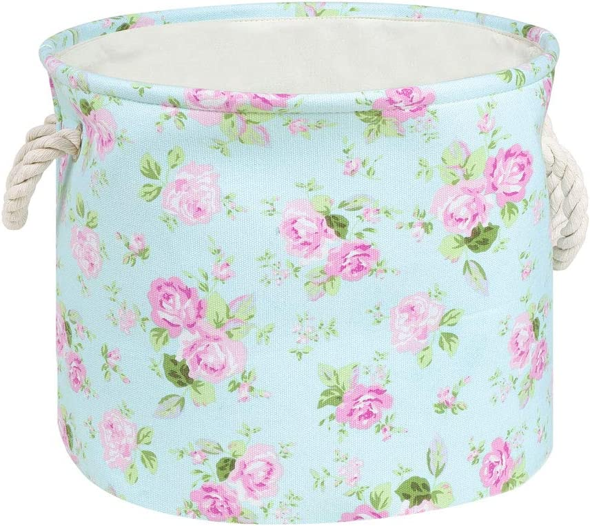 "PICCOCASA Fabric Round Storage Basket Bin with Durable Cotton Handles, Foldable Toy Organizer for Shelves Cubby Laundry Playroom Closet Clothes Shoe,13"" x 9.8"",Pink Floral Style"