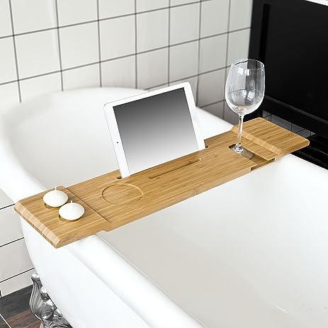 Haotian Bamboo Bath Shelf , Bath Bridge, Bathroom Vanity Set,Eco Friendly  Extendable