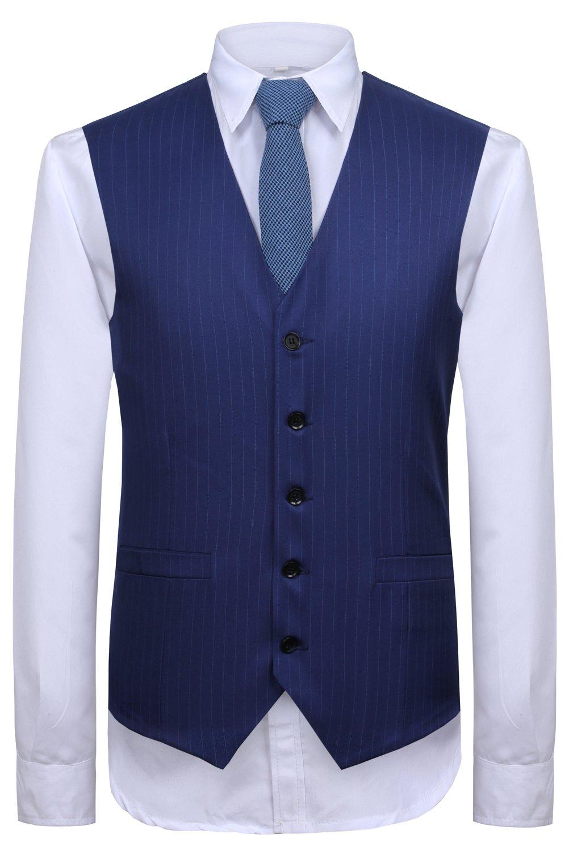CMDC Men's 3 Pieces Business Suits Slim Fit Stripe Blazer Jacket Vest Pants Set SI137 (Blue,40) by CMDC (Image #2)