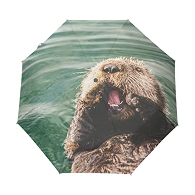 Naanle Baby Otter Floating Water Auto Open Close Foldable Windproof Travel Umbrella