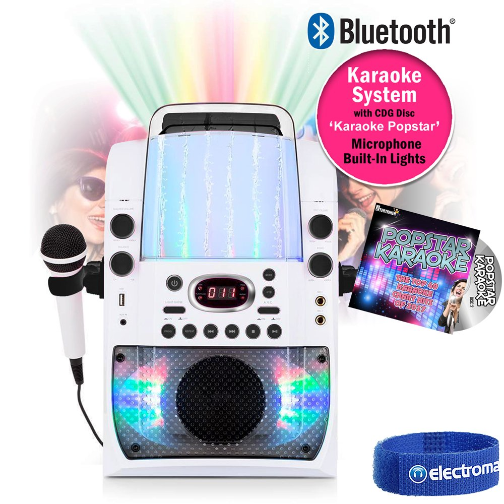 Bluetooth Karaoke Player Machine Microphones Lights CD+G 40 Track Party Songs Electrovision Ltd