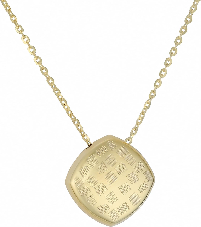 18 inch Kooljewelry 10k Yellow Gold Diamond-Cut Dome Pendant Necklace