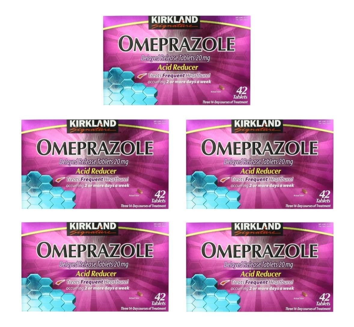 Kirkland Signature Omeprazole Delayed Release, Acid Reducer Tablets 20 mg (Pack of 5)