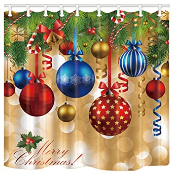 Colorful Christmas.Nymb New Year Bath Curtain Colorful Christmas Balls Hang On Pine Tree With Ribbon For Christmas Polyester Fabric Waterproof Shower Curtain For