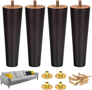 6 Inch Wood Furniture Sofa Feet Legs Set of 4 for Couch Cabinet Chair Brown Replacement Extenders with Hardware Kit Attachment Mounting Plates M8 Bolts and Screws