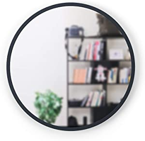 """Umbra, Charcoal Hub 30"""" Round Wall Mirror with Rubber Frame, Modern Decor for Entryways, Bathrooms, Living Rooms Inch"""