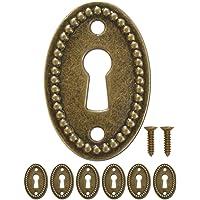 FUXXER® - 6x antieke ovale sleutelborden, slot-rozetten, slot-beslag, afdekking voor sloten, sleutelgat, vintage messing…