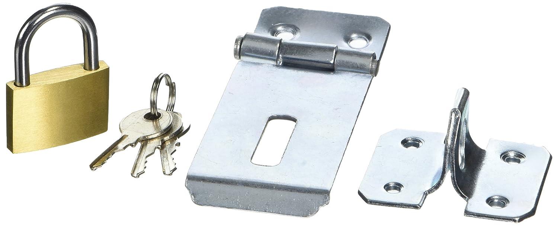 7,6/cm Bulk Hardware bh05816/Sicherheit Sicherheits///Überfalle verzinkt komplett mit Messing Vorh/ängeschloss 75/mm