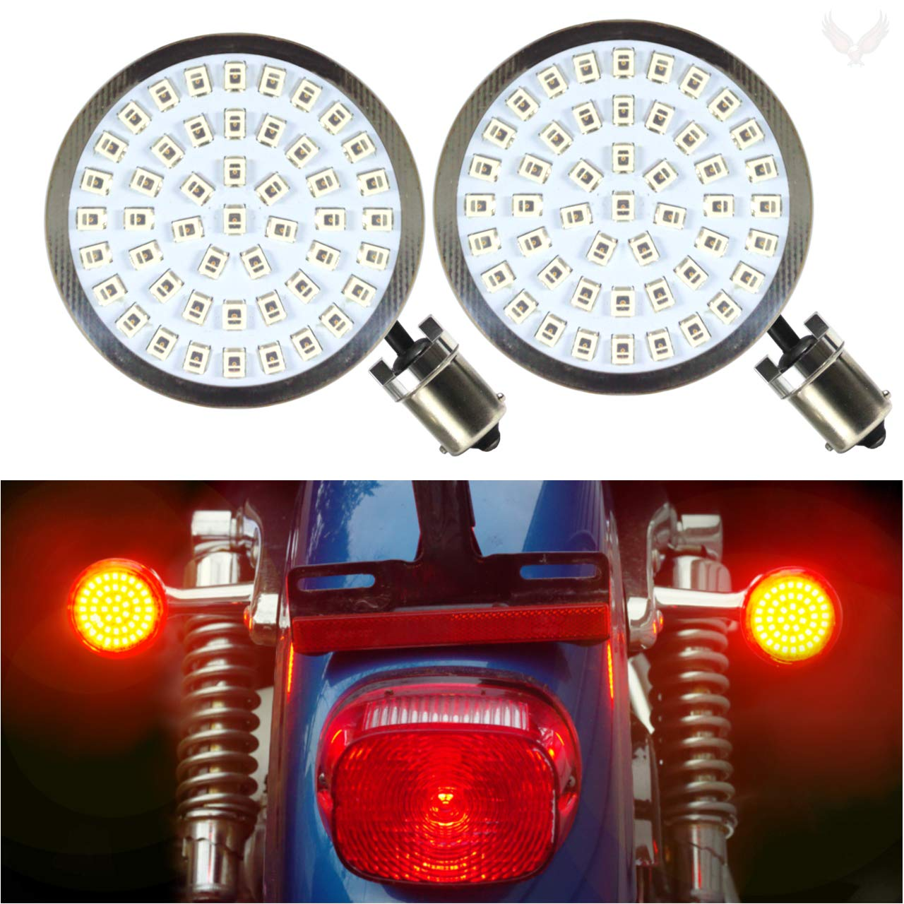 Eagle Lights Generation II Red LED Turn Signals (Rear Turn Signals (1156), No Smoke Lenses) 2 inch bullet style for Harley Davidson by Eagle Lights