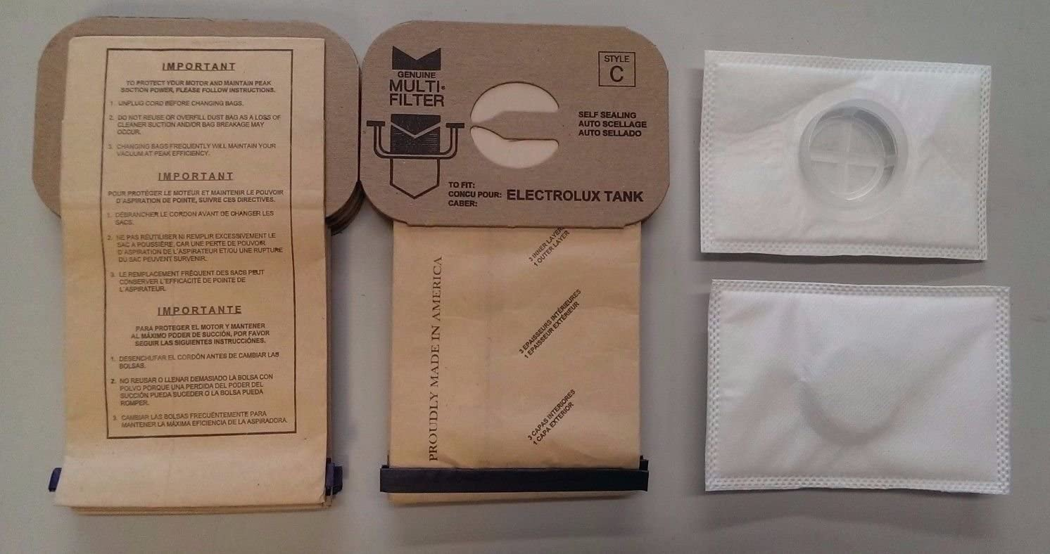 Electrolux Canister Tank Style C Vacuum Bags,(10 Bags & 2 After Filters)