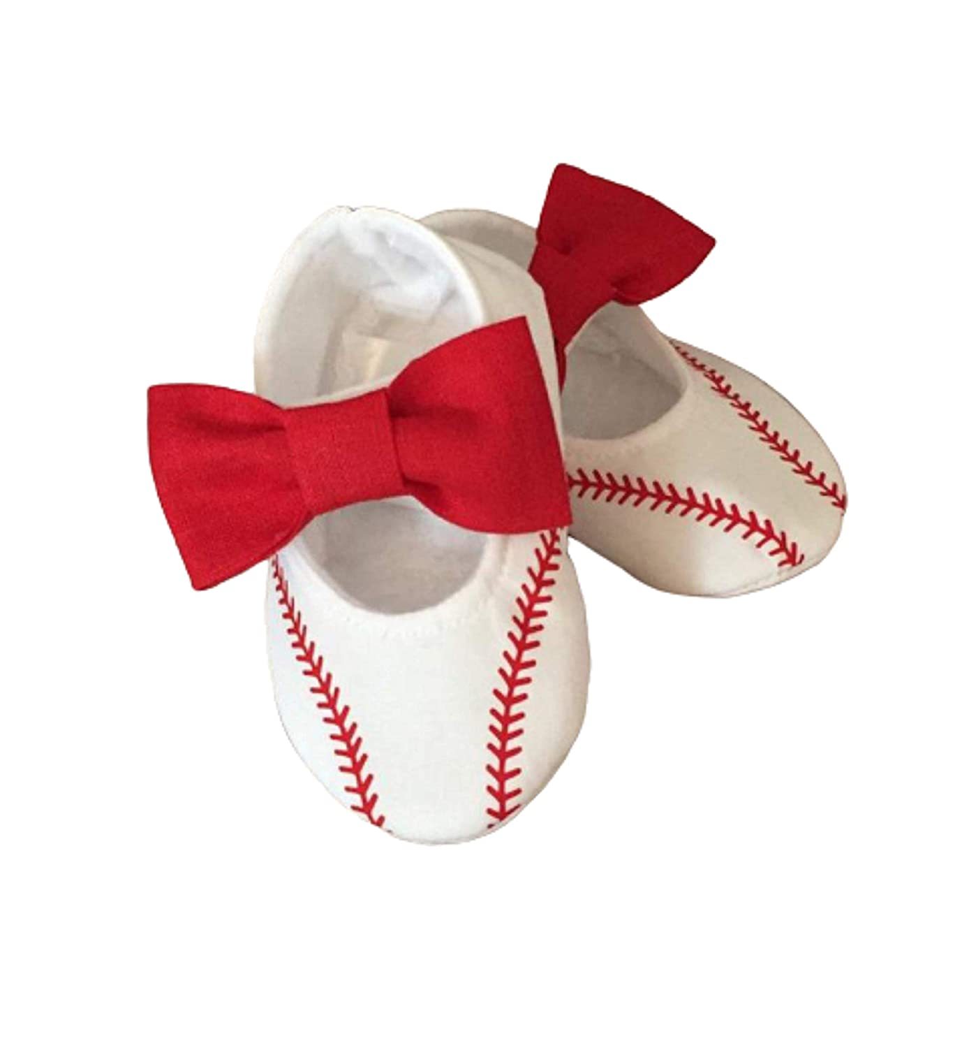 Baby Girl Baseball Shoes with Red Bows